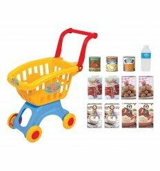 Тележка для супермаркета с набором продуктов