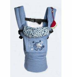 Ергономічний рюкзак My baby джинс блакитний (квіточки)