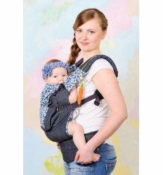 Ерго рюкзак-переноска My baby Морський синій джинс з квіточками