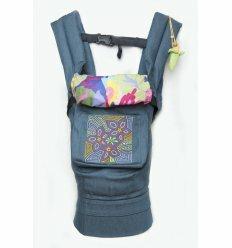 Ергономічний рюкзак-переноска для дітей Квіткова геометрія джинс блакитний
