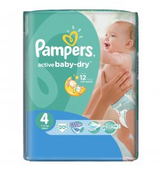 Подгузники Pampers 4 activebaby макси 7 18кг 20 шт