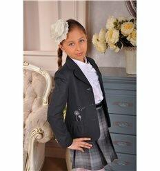 Жакет из поливискозы с накладными карманами и вышивкой с подкладкой из вискозы